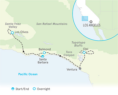 Santa Barbara Bike Tours   Santa Barbara to Ojai Bike Tour on ojai california map, san pedro california map, san diego california map, grossmont california map, bay area california map, ventura california map, davis california map, san francisco california map, carmel california map, thousand oaks california map, orange county california map, paso robles california map, anaheim california map, mono lake california map, palm springs california map, lake tahoe california map, long beach california map, pacific coast highway california map, los angeles california map, turlock california map,