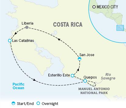 Costa Rica Family Multi-Adventure Tour Map
