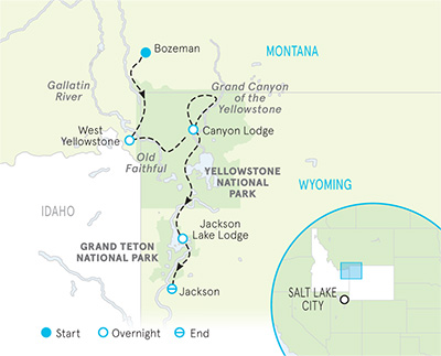 Big Sky, Yellowstone & Tetons Family Multi-Adventure Tour Map