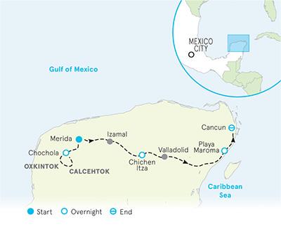 Mexico Yucatan Multi-Adventure Tour: Biking, Hiking & Yoga on zacatecas map, oaxaca map, pampas map, mahahual map, baja map, cozumel map, cancun map, belize map, merida map, quintana roo map, mexico map, riviera maya map, tenochtitlan map, puerto rico map, chiapas map, hawaii map, campeche map, mesoamerica map, panama map, guadalajara map,