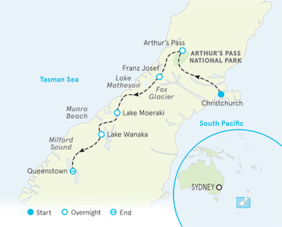 Map Of New Zealand Christchurch.New Zealand Family Hiking Tours Walking Tours South Island