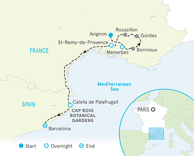 Map Of Southern France And Spain.Guided Walking Holidays In Provence Hiking In Provence Backroads